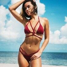 Купить с кэшбэком Bikini sexy multi-stringed bikini swimsuit swimwear women bikini 2019 bikini push up swimming suit for women bathing suit women