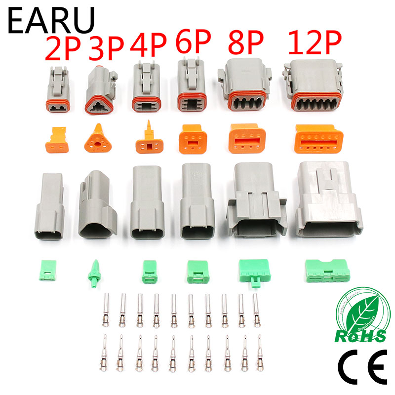 1 Set Deutsch DT Connector DT06-2S/DT04-2P 2P 3P 4P 6P 8P Waterproof Electrical Connector For Car Motor Truck With Pins 22-16AWG