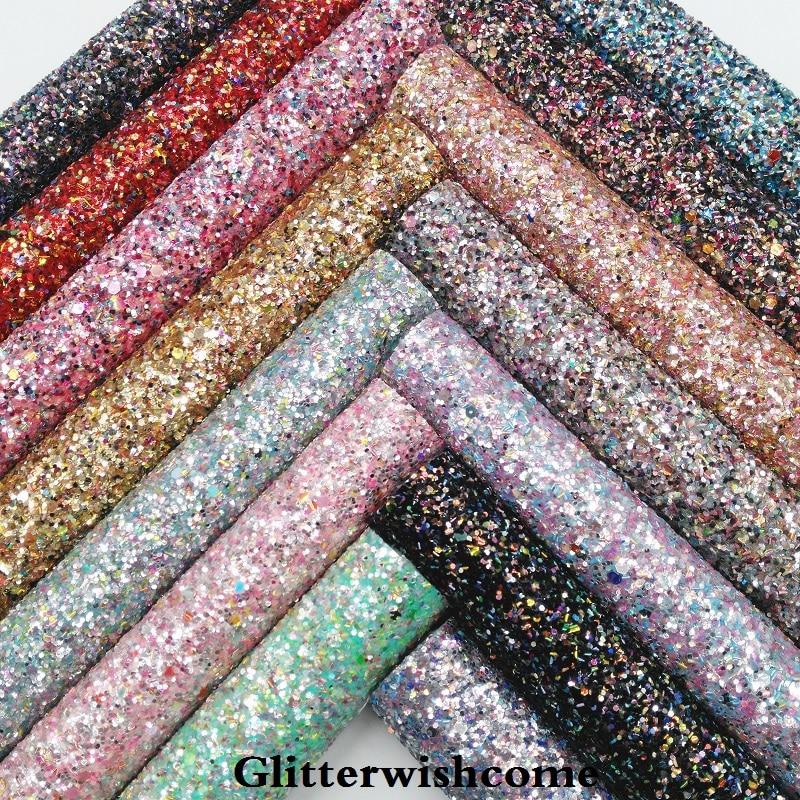 Glitterwishcome 21X29 см A4 Размеры синтетическая кожа, устойчивый блеск кожи, виниловые ткани для Луки, GM032A
