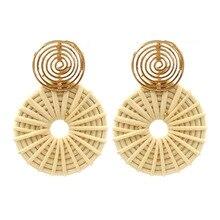 Big Earrings Dangle Drop Jewelry Boho Summer Statement 2019 For Women Rattan Handmade Straw Round Trendy