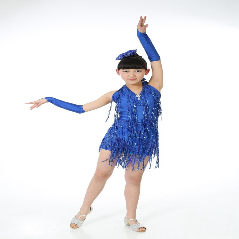 110-160cm Children Shining Paillette Tassel Dress Fashion Elegant Ballroom Latin Salsa Dance Wear Girls Bodysuit  Dance Clothes 3colors 100 160cm height kids child girls tassel dress ballroom latin salsa fashion dancewear dance costume dresses gifts