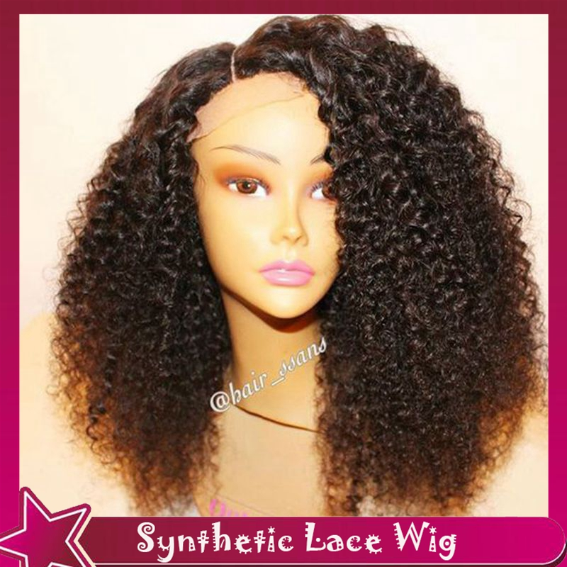 High Quality Afro Kinky Curly Lace Front Wig Long Black ...