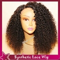 High Quality Afro Kinky Curly Lace Front Wig Long Black Synthetic Lace Front Wig Cute Hair Synthetic Curly Wig for Woman