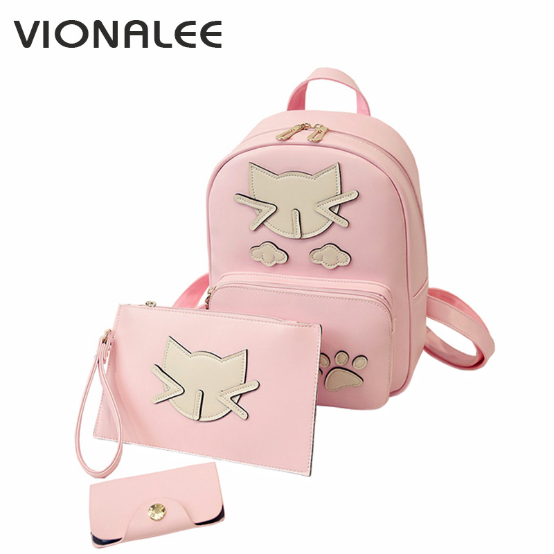 3pcs Cat Bag Women Shoulder Bag Women All For School Bag For Girl Cat Backpack Pink Small Girls Backpack Cute Korean Style Anime коллаген косметикс маска альгинатная медикал коллаген 3d medical collagene 3d proff revital line 200 г для лица и тела