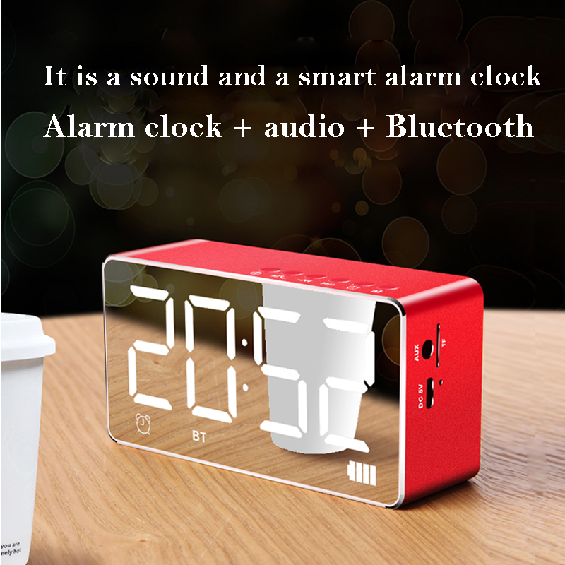 Orunjo Q31 Bluetooth Speaker Mirror LED Digital Display Alarm Clock Wireless FM Radio Electronic Home Decoration Table Clock in Portable Speakers from Consumer Electronics