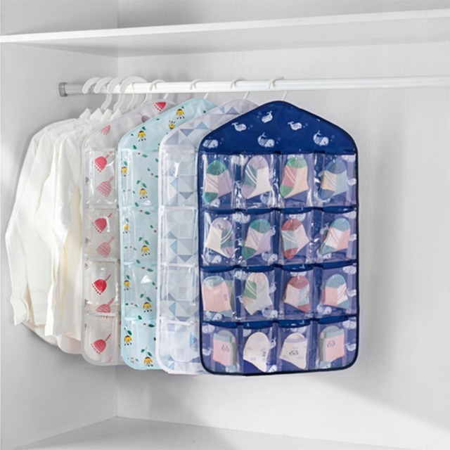Multi Pockets Multifunction Oxford Underwear Sorting Storage Bag Door Wall Hanging Closet Organizer Pouch E Saver Sundri