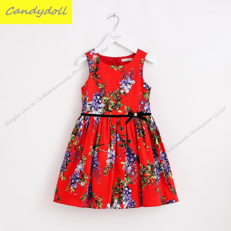 New arrival Children's Dress Kids Girls Dress 100% Cotton Sleeveless Princess Dress Printed dress 4-9Y new arrival 100