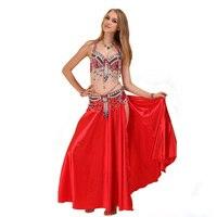 Performance 10 Colors Belly Dancing Clothing Oriental Dance Beads Bra Belt And Satin Long Skirt Women