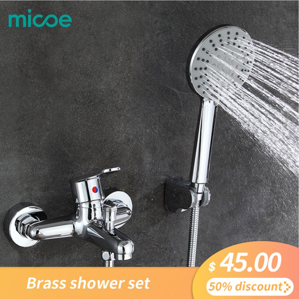 2017 Micoe Bathtub Faucet Bathroom Brass Shower Set 150mm In wall Mount Hot Cold Water Short