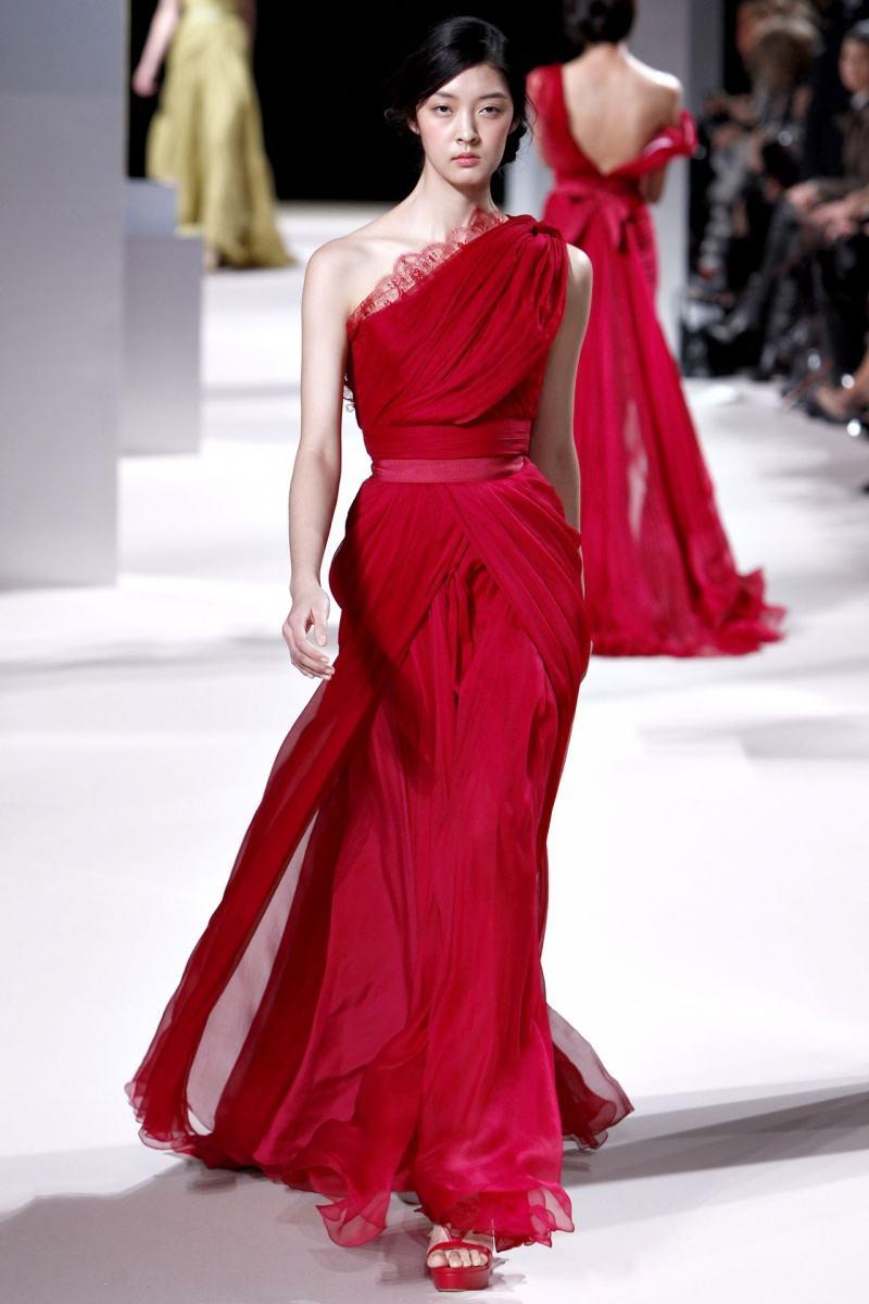 Elie_Saab Sexy une épaule étage longueur Court train pli mousseline de soie robes de soirée bourgogne