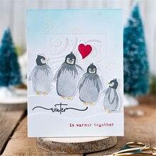 Eastshape 6pcs/lot Penguins Stamps & Metal Cutting Dies For Scrapbooking DIY Cards Album Decoration New 2019 with dies