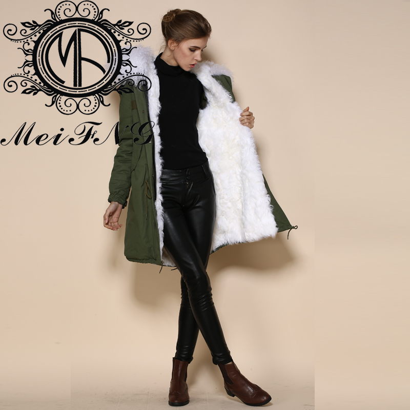 Parka Coat With White Fur Hood