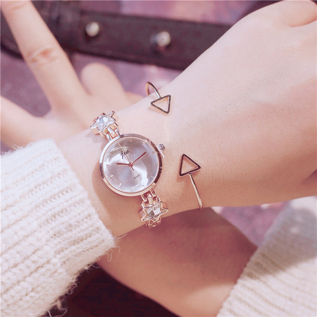 2018 Famous Brand New Watch Lady Rose Gold Crystal Cover Charm Women Bracelet Wa
