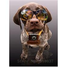 Diamant Diy 5D Diamond Painting Cross Stitch Wearing A Sunglasses Dog Needlework