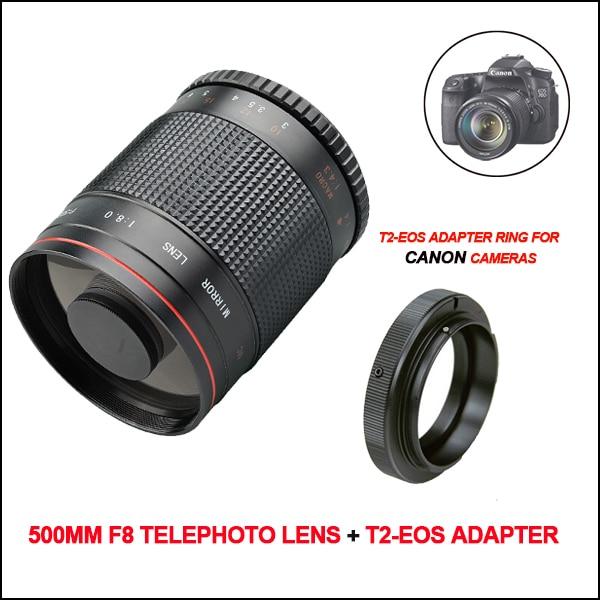 Manuel 500mm F8 Téléobjectif Lentille Miroir avec T2 Bague D'adaptation pour Canon 80D 77D 70D 60D 7D 5D Mark II 750D 700D 650D 1200D 100D