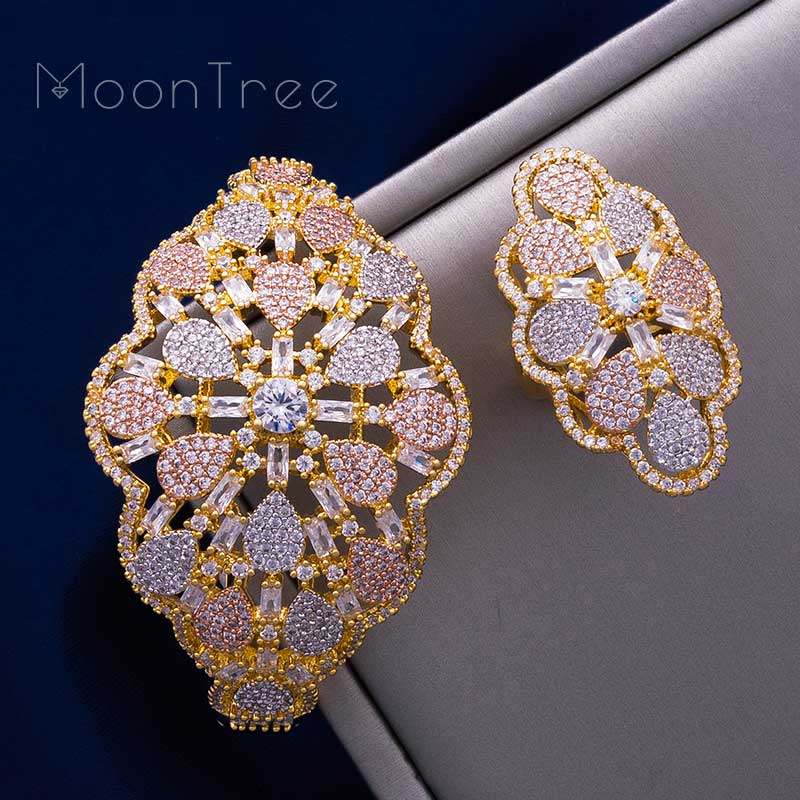 цены MoonTree Bridal Jewelry Sets Three Tones Big Size Cuff Bracelet Bangle Finger Rings Full Cubic Zircon Copper Hand Jewelry