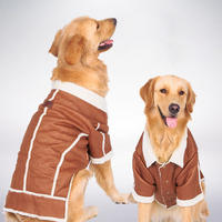 Winter Warm Fleece Big Large Dog Coat Jacket Leather Dog Puppy Hoodie Clothing For Pet Golden