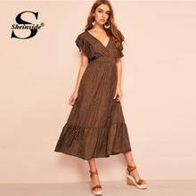 c37d91f47c Sheinside Polka Dot drukuj sukienka z dekoltem w kształcie litery V kobiety  2019 lato Backless Lace Up wysoka linia talii sukien.