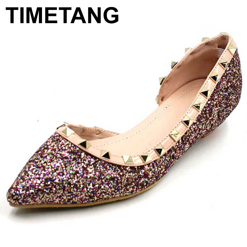 TIMETANG New 2018 Fashion Brand Shoes Women Rivets Shoes Pointed toe Elegant Women's Flats Ladies Single Footwear C249 pu pointed toe flats with eyelet strap