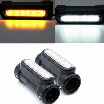 Черные мотоциклетные шоссе бар сигнал поворота с переключателем свет белый оранжевый светодиод для аварии панелей для моделей Harley Touring для ...