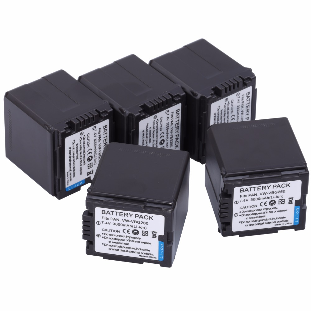 5Pcs VW-VBG260 VW VBG260 VBG130 VBG260 Battery for PANASONIC HDC-HS700 TM700 HS300 TM300 HS250 SD20 HS20 HDC-SDT750 SDR-H40 replacement vbk360 3 7v 3580mah battery for panasonic hdc tm90 more