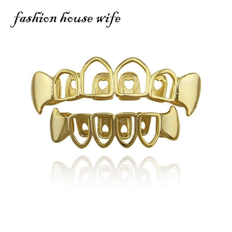 US $3 39 5% OFF|HiP Hop Grillz Custom Gold Teeth Grillz Top&Bottom Vampire  Teeth Caps Halloween Tooth Grills Dental Party Jewelry XHYT1046-in Body