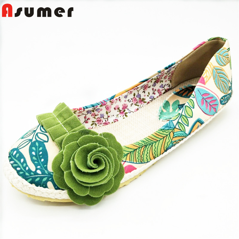 ASUMER 2016 new arrive fashion Ballet Flats cloth light women flat shoes woman flower  female shoes size 34-43 vintage embroidery women flats chinese floral canvas embroidered shoes national old beijing cloth single dance soft flats