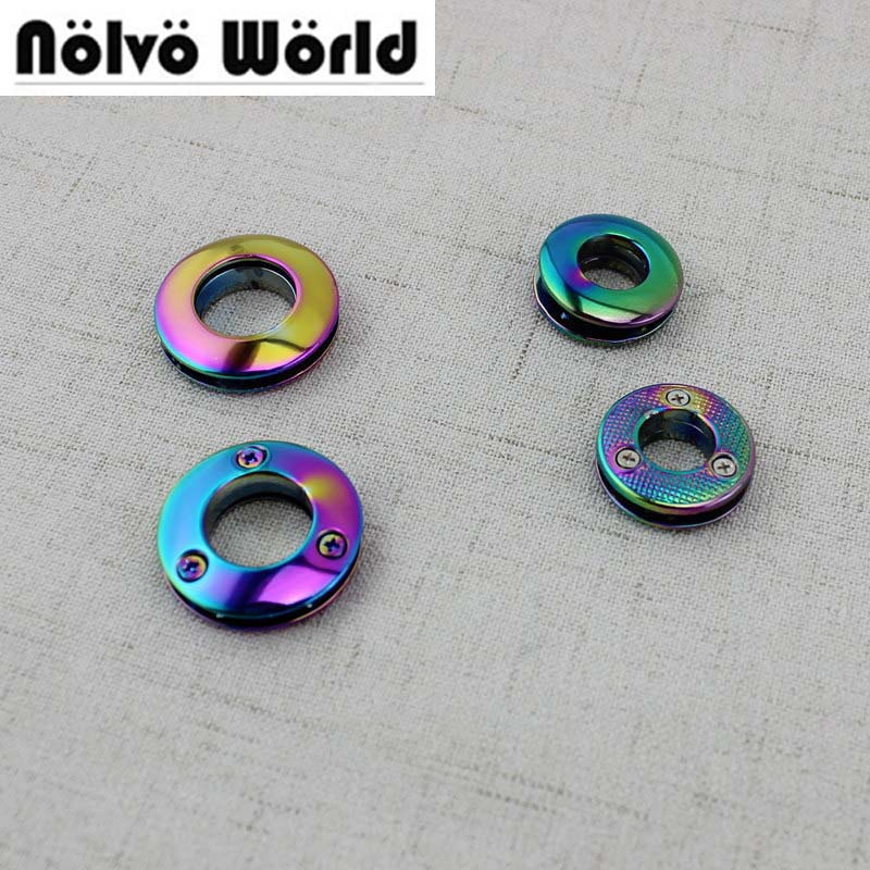 10pcs 30pcs 10mm High quality grommet die casting fashion bags belts metal accessory round eyelets with screws Rainbow цены