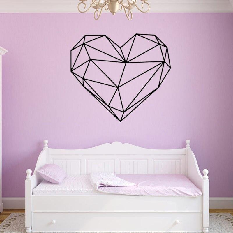 Geometric Heart DIY Wall Sticker For Home Decor Minimalism Nordic ...