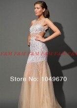 2014 Jewel Neck Kristall Perlen Luxus Abendkleider Echt Bilder Backless Tulle Nixe-Abschlussball F & M798