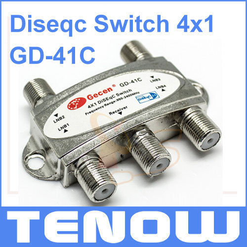 HOT! Gecen GD-41C 4 x 1 Diseqc Switch for FTA DVB-S2 Satellite Receivers Freeshipping