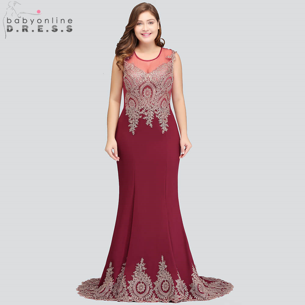 Robe de Soiree Sexy Mermaid Lace Plus Size   Evening     Dress   Elegant Transparent Burgundy   Evening   Gown Vestido de Festa Longo