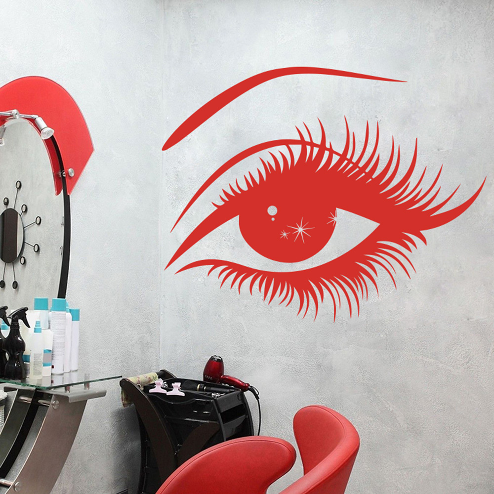 Cartoon  Eye Lashes Wall Sticker Nail Shop Make Up Beauty Salon Eyelash Wall Decal Living Room Bedroom Vinyl Home Decor
