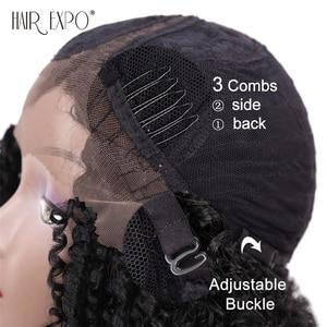Image 5 - 14 אינץ קינקי סינטטי קצר שחור שיער לנשים שחורות תחרה פאות חום Resiatant צד חלק שיער אקספו עיר
