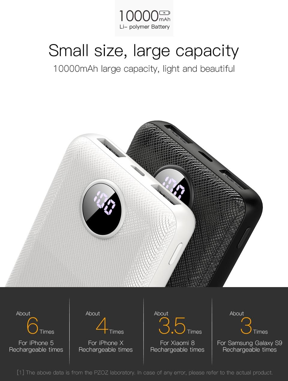 PZOZ Power Bank 10000mAh Dual USB Mobile Phone External Battery Fast Charge For iphone xiaomi mi Portable Charger mini PowerBank 1