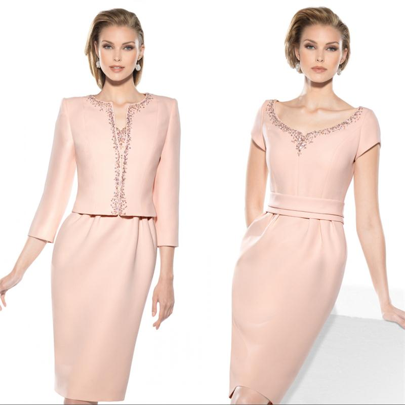 2017 Elegant Pink Mother Of The Bride Groom Dresses With