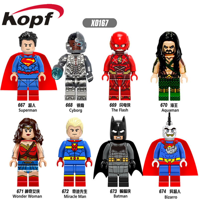 Single Sale Super Heroes Superman Wonder Woman Aquaman Cyborg Batman Bricks Action Building font b Blocks