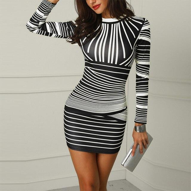 5ebf91d4d8d1b US $15.69 32% OFF|Aliexpress.com : Buy 2019 Women Gradient Color Striped  Party Dress Ladies Sexy Sheath Bodycon Dress Spring Long Sleeve Print Mini  ...