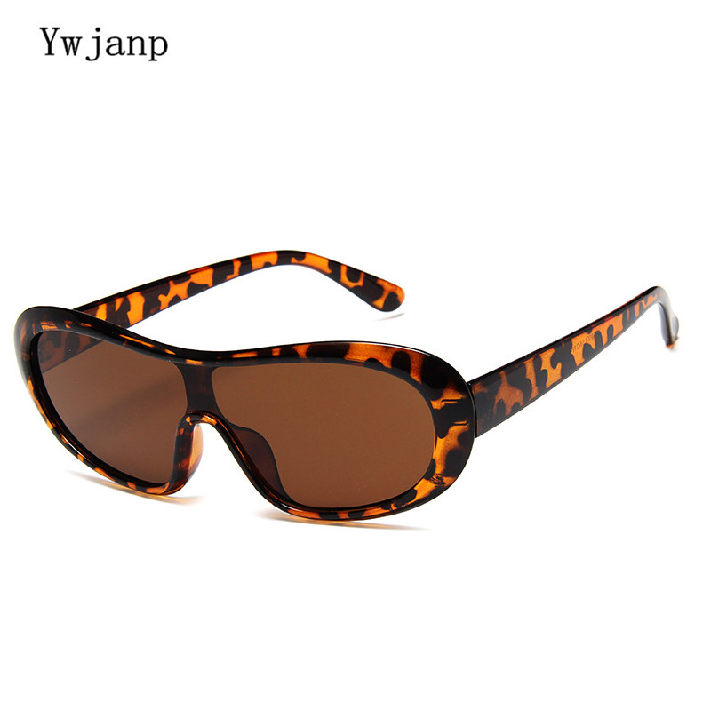 Ywjanp vintage Oversized Oval Sunglasses Men Women Brand Designer Piece Sun glasses Show Big Frame Windproof Sunglass for women