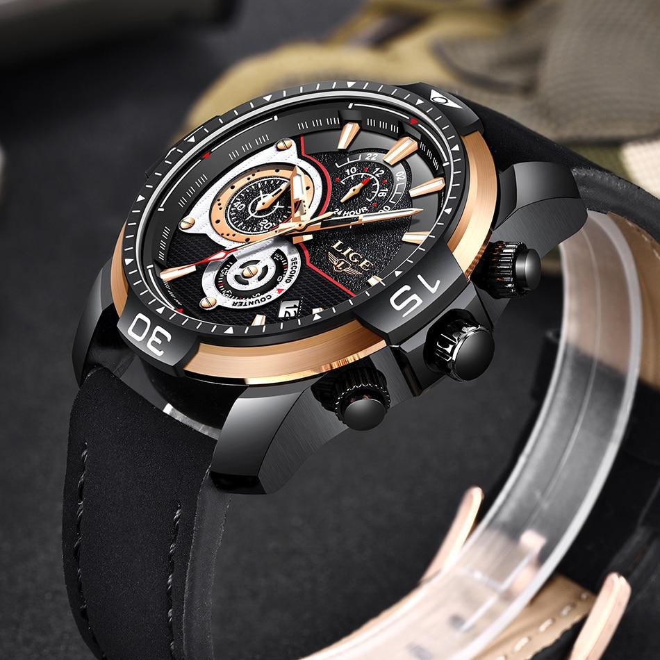 HTB1DBdoa.rrK1RkSne1q6ArVVXaW LIGE Mens Watches Top Brand Luxury Casual Leather Quartz Clock Male Sport Waterproof Watch Gold Watch Men Relogio Masculino