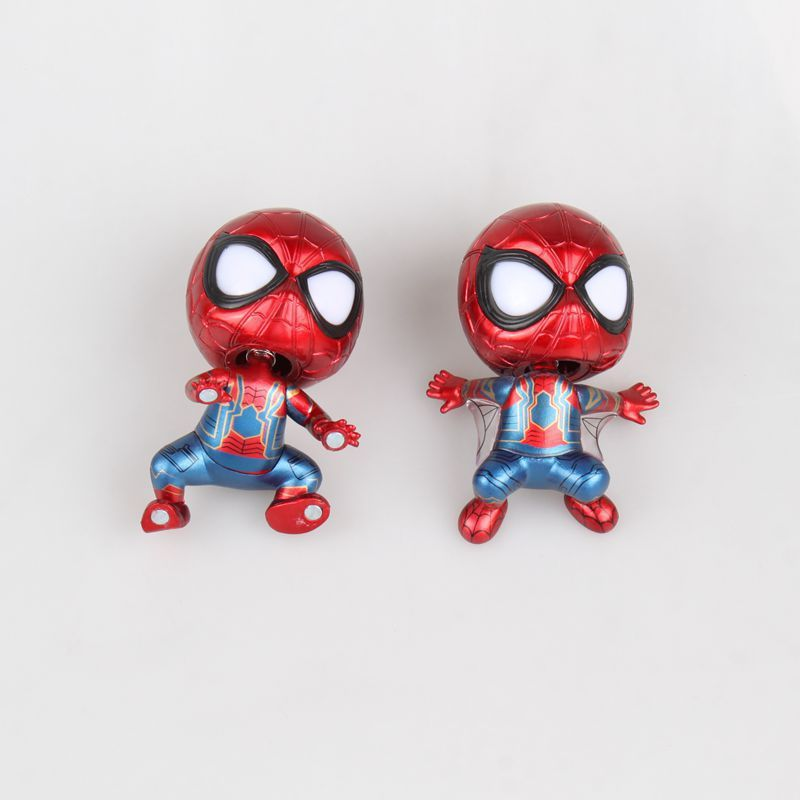 Q version shaking his head Spiderman Kneeling Crawling posture Plating color DOLL Action ...