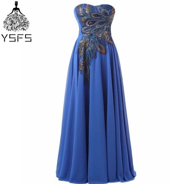 ab62c1ed2 Largo Azul Pavo Real Bordado Patrón de Gasa Partido Vestido de Noche  Baratos Vestidos de Baile