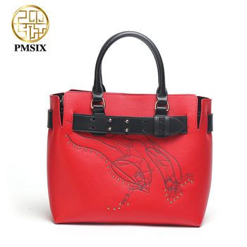 PMSIX 2020 Embossed Red Leather Women Handbags Fashion Newest Shoulder Bags Casual Hasp Crossbody Bag