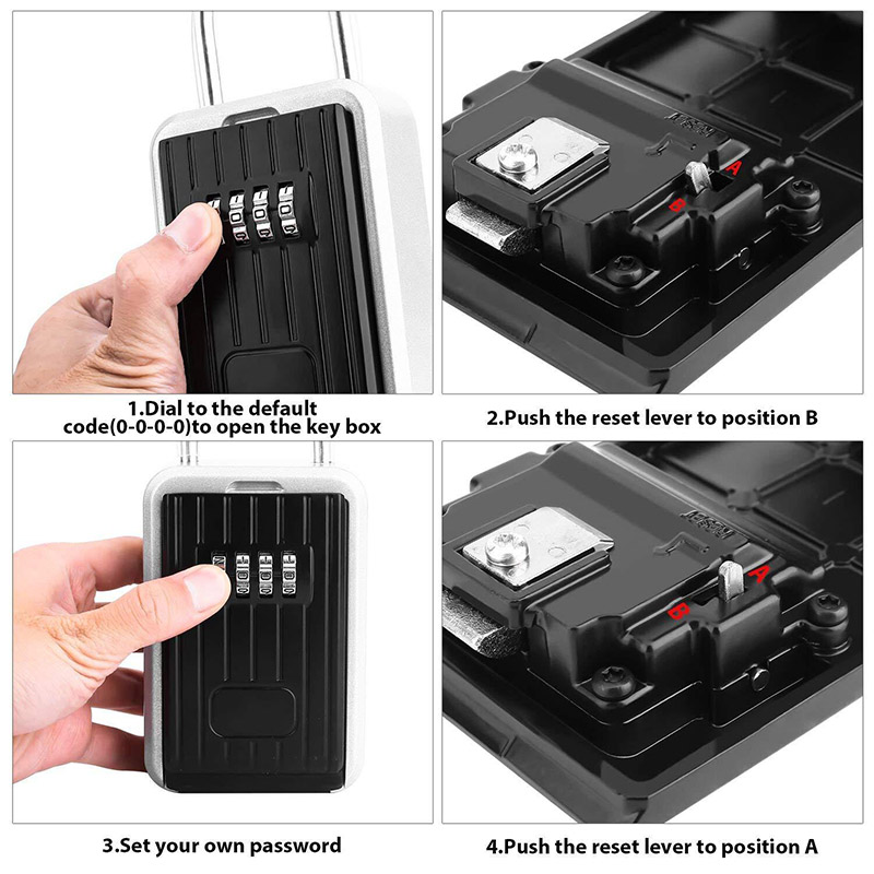 HOT Key Storage Lock Box With 4-Digit Combination Hanging Key Safe Box For Indoor Outdoor BUS66