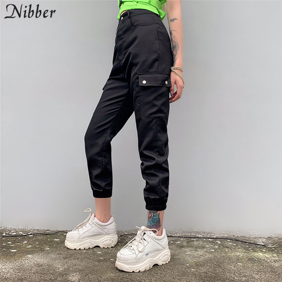 Nibber spring fashion pocket black red cargo pants womens 2019 hot cotton loose casual pants ladies Solid wide leg harem pants