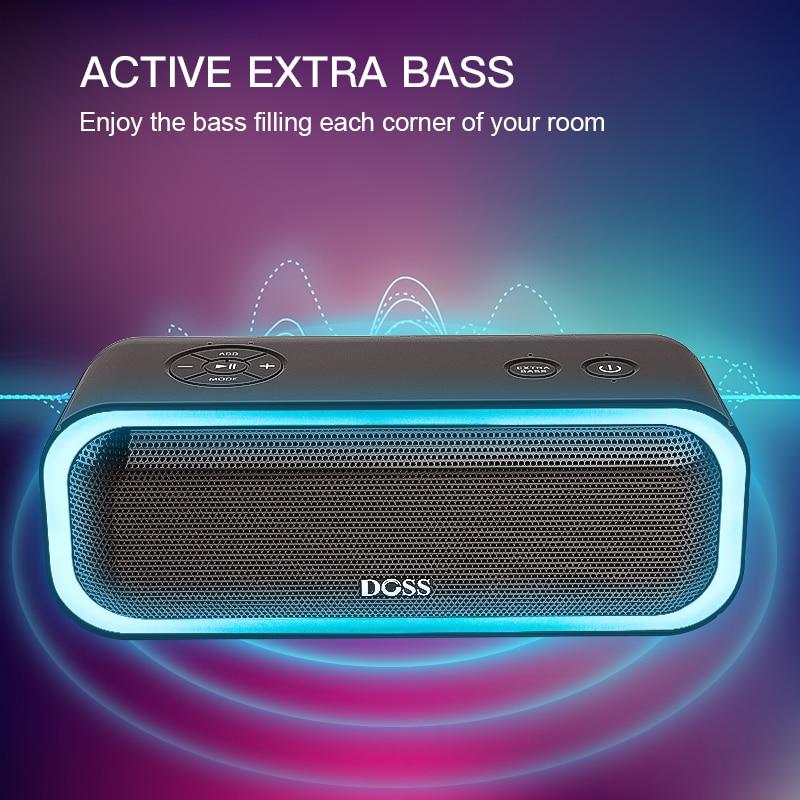 DOSS SoundBox Pro TWS Wireless Bluetooth Speaker 2*10 Drivers with Flashing LED Light Enhanced Bass Stereo Sound IPX5 Waterproof
