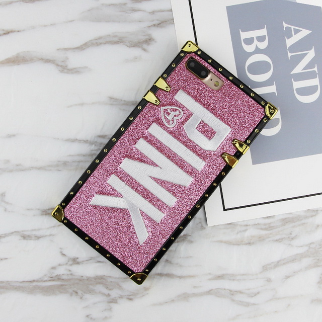Brand PINK Case For Iphone XS Max X XR 6 6s 7 8 Plus Square Case For Samsung Galaxy S8 S9 Note 8 9 Bling Glitter Secret Cover