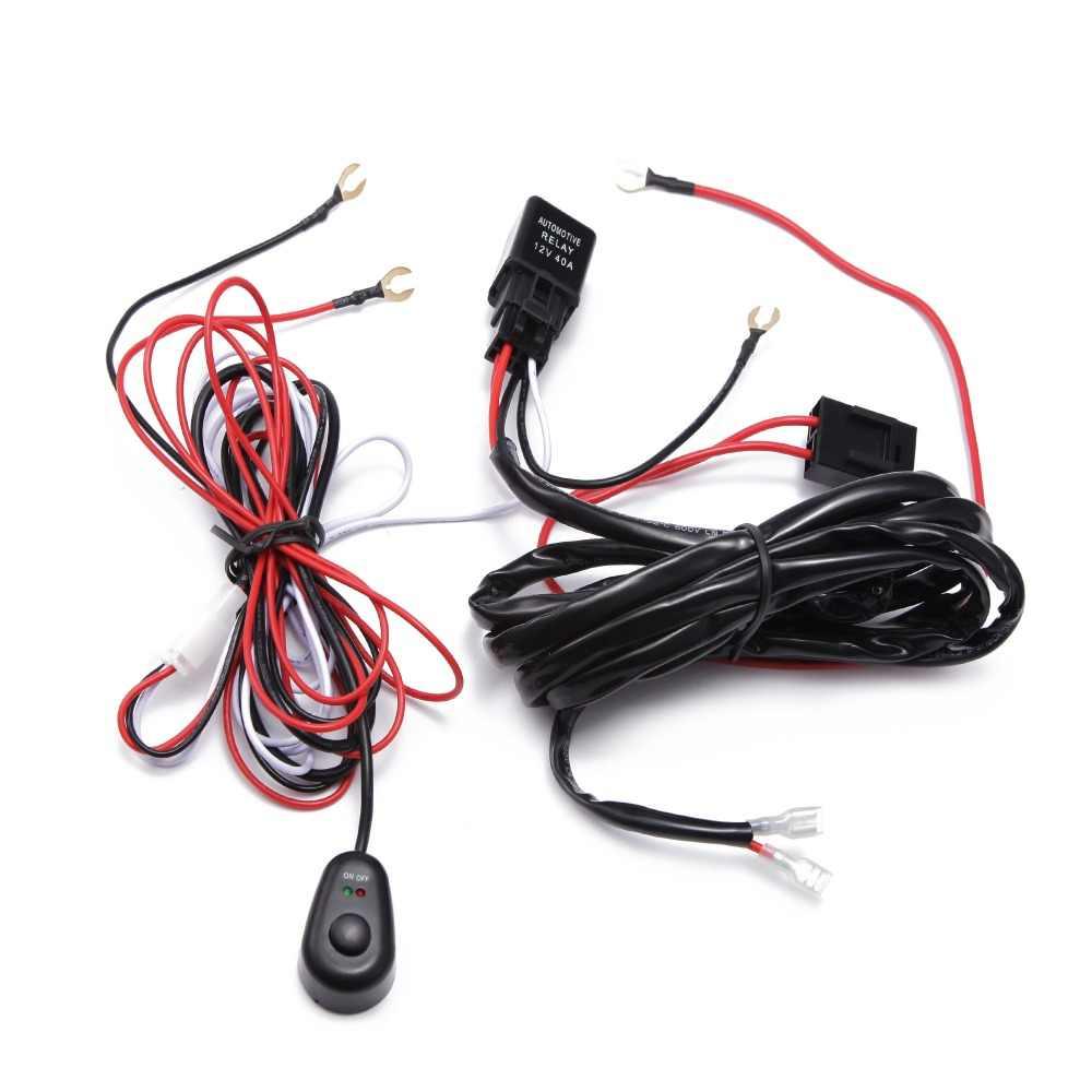 Ecahayaku 1X2 M Mobil Lampu LED Bar Kawat Kabel Harness Relay Loom Kit Kabel Sekering untuk Mengemudi offroad Lampu Kerja LED 12 V 24 V