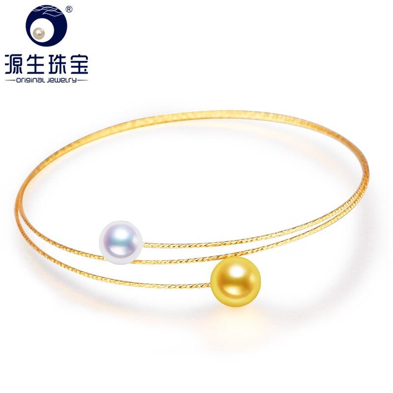 [YS] bijoux fins japonais Akoya eau de mer Double perle bijoux 18 k or perle Bracelets[YS] bijoux fins japonais Akoya eau de mer Double perle bijoux 18 k or perle Bracelets