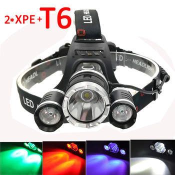 XML T6 +2x XPE LED Headlamp 3 LED Headlight 4 Mode Head Torch Flashlight White/Red/Green/Purple Light  Fishing Hunting Lamp sipids s10 1 led white 2 led red 2 mode headlamp black fluorescent green 3 x aaa